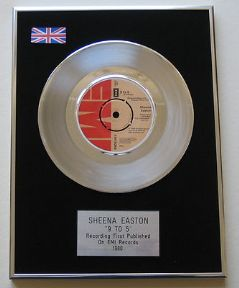 SHEENA EASTON - 9 TO 5 Platinum single presentation DISC